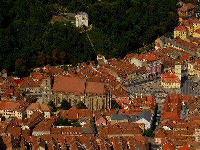 Historic center of Brașov seen from nearby Mount Tâmpa