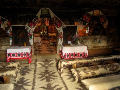Inside a wooden church from Maramures